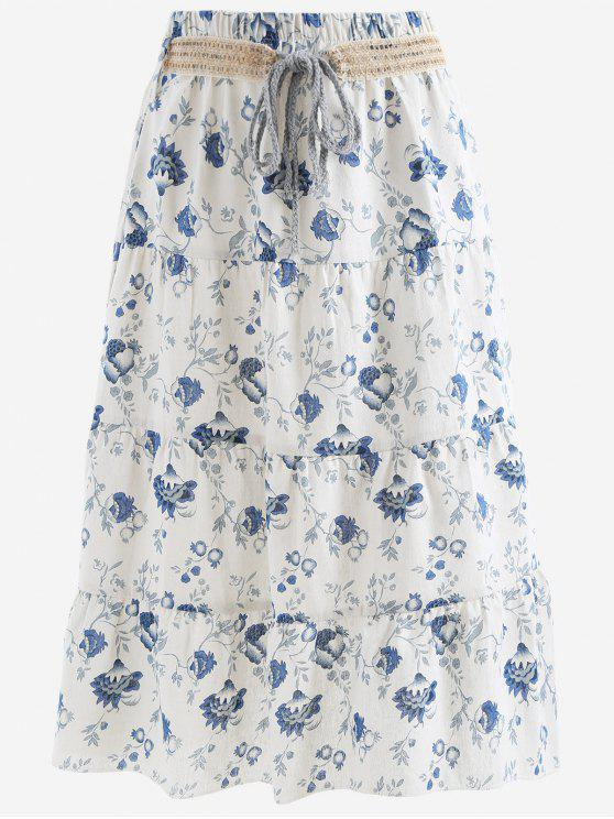 shop Belted Printed A Line Maxi Skirt - BLUE AND WHITE ONE SIZE