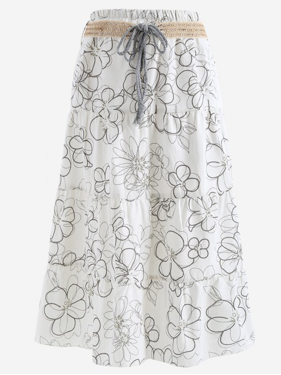 latest Belted Printed A Line Maxi Skirt - WHITE ONE SIZE