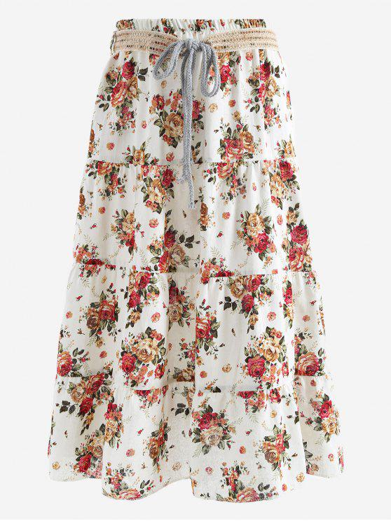 fashion Belted Printed A Line Maxi Skirt - RED AND WHITE ONE SIZE