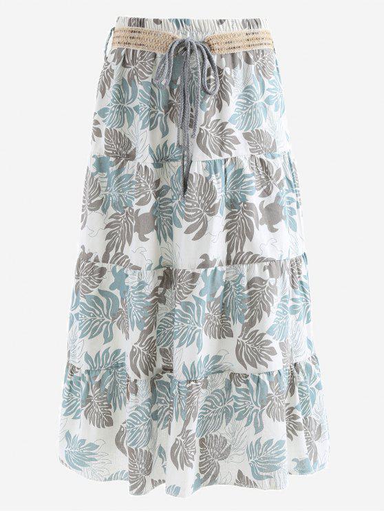Cinturón impreso una falda maxi de línea - Gris y Azul Única Talla