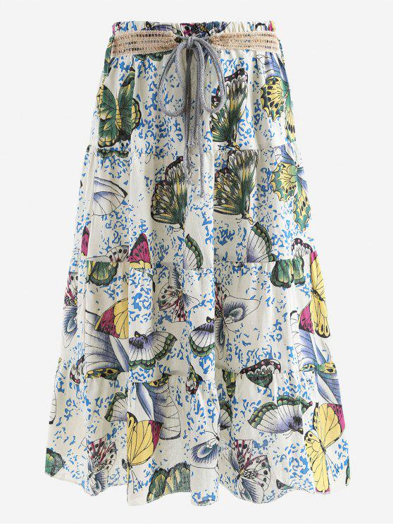 sale Belted Printed A Line Maxi Skirt - DEEP GREEN ONE SIZE