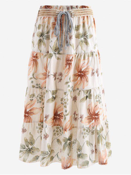 Cinturón impreso una falda maxi de línea - Floral Única Talla