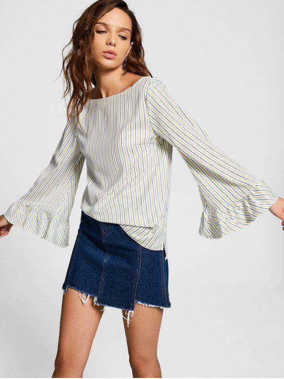 women Ruffled Sleeve Stripes Blouse - STRIPE L