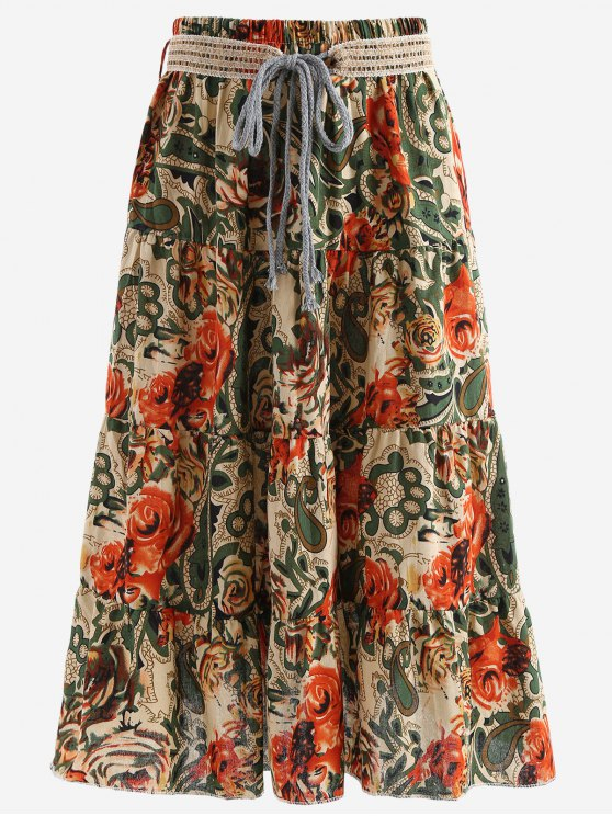women's Belted Printed A Line Maxi Skirt - LIGHT KHAKI ONE SIZE