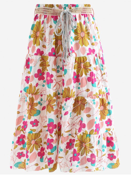 ladies Belted Printed A Line Maxi Skirt - PINK ONE SIZE