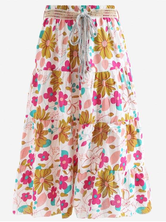 Cinturón impreso una falda maxi de línea - Rosa Única Talla