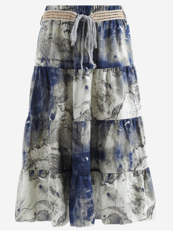 lady Belted Printed A Line Maxi Skirt - PURPLISH BLUE ONE SIZE