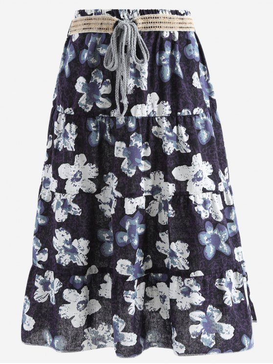 best Belted Printed A Line Maxi Skirt - BLACK ONE SIZE