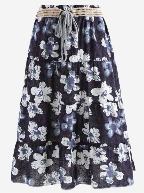 Cinturón impreso una falda maxi de línea - Negro Única Talla