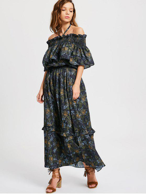hot Floral Ruffled Cold Shoulder Maxi Dress - FLORAL S
