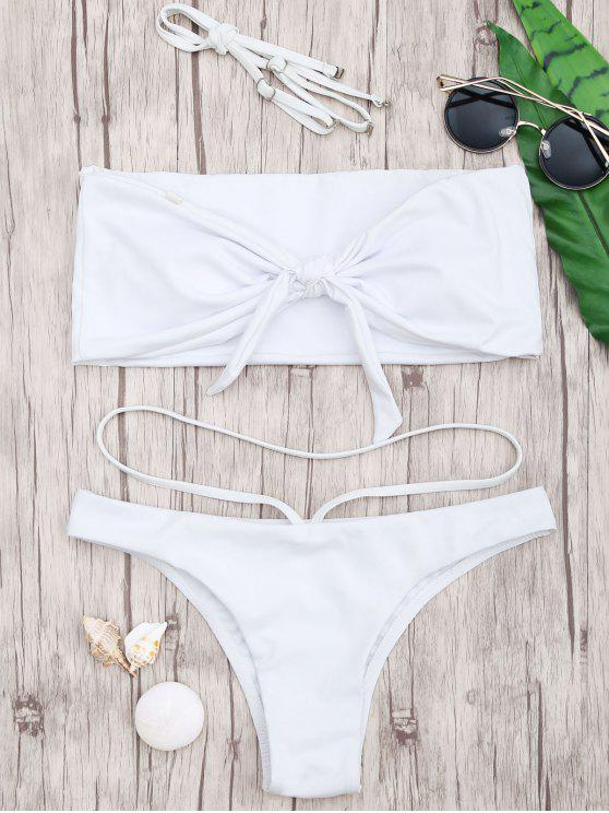 fashion Knotted Bandeau Bandage Bikini - WHITE S