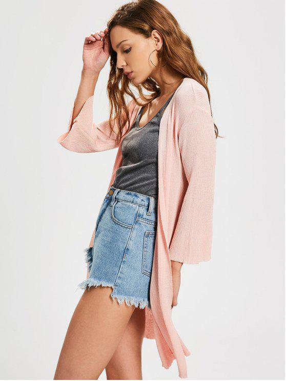 new Open Front Knitted Ribbed Cardigan - PINK ONE SIZE