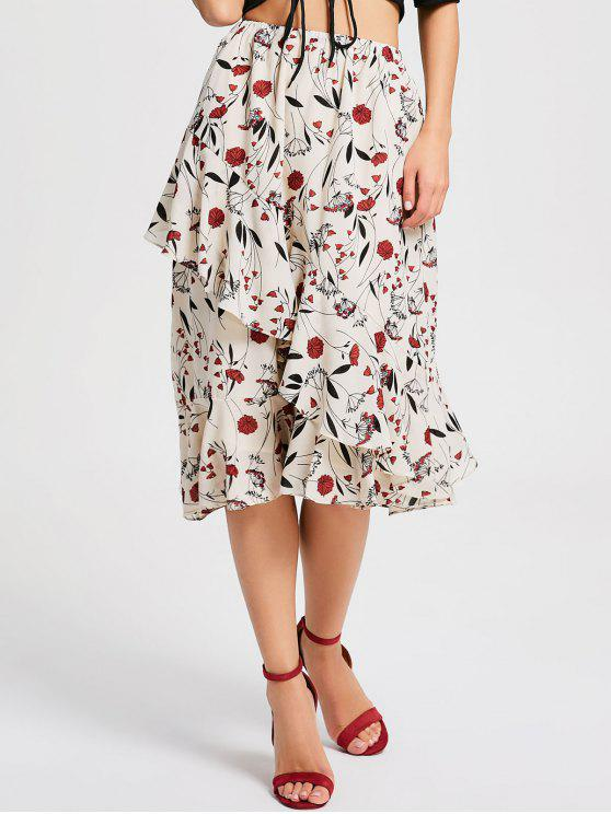 Falda asimétrica de volantes floridos pequeños - Floral M
