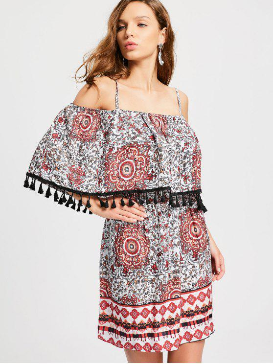 Overlay Tassels Cold Shoulder A Line Dress - Multicolore M
