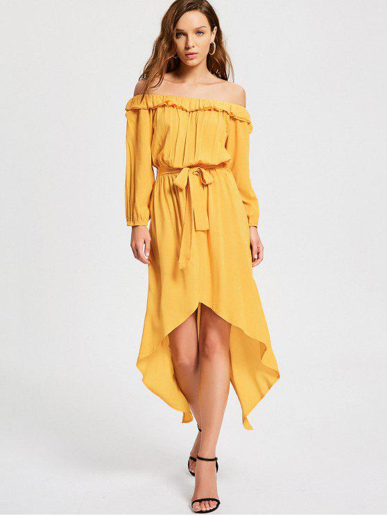 unique Off The Shoulder Belted Asymmetric Dress - YELLOW XL
