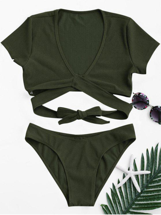 latest Knot Front High Cut Bathing Suit - ARMY GREEN L
