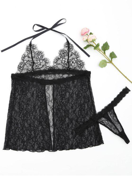 trendy Sheer Lace Halter Camisole with Thong - BLACK L