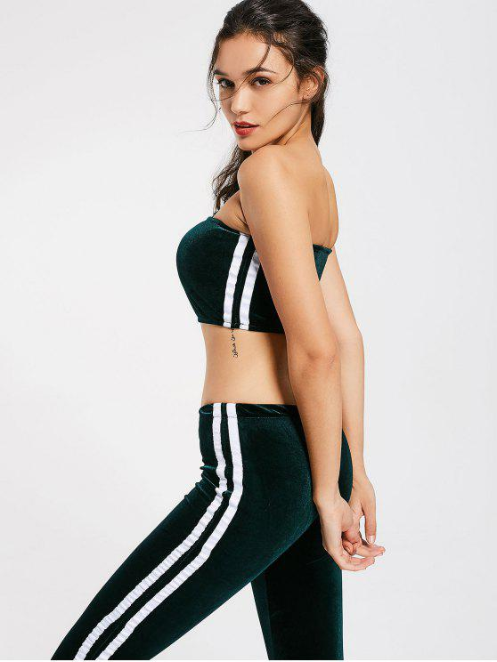 buy Striped Trim Velvet Tube Top and Flare Pants - BLACKISH GREEN S