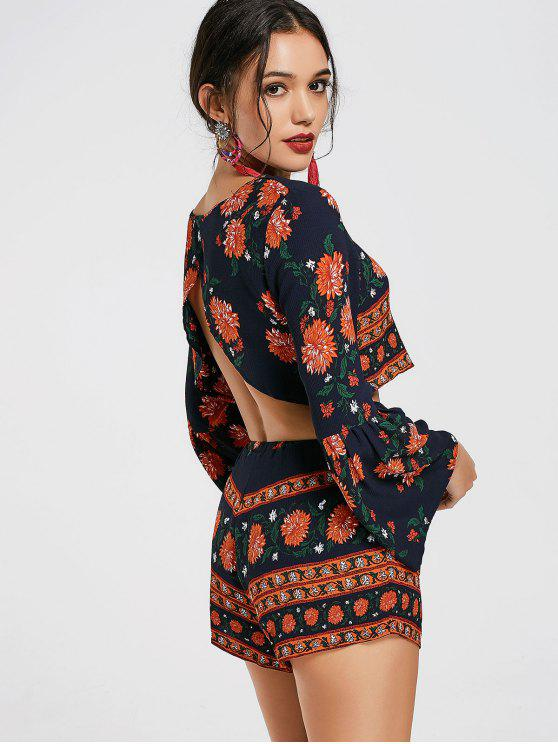 womens Flare Sleeve Cut Out Top and Floral Shorts - FLORAL L