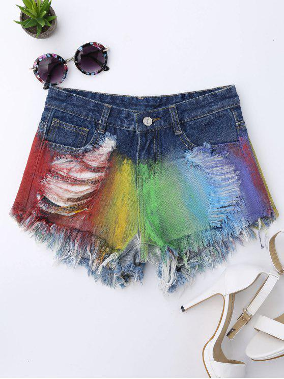 womens Spray Painting Ripped Frayed Hem Denim Shorts - COLORMIX XL