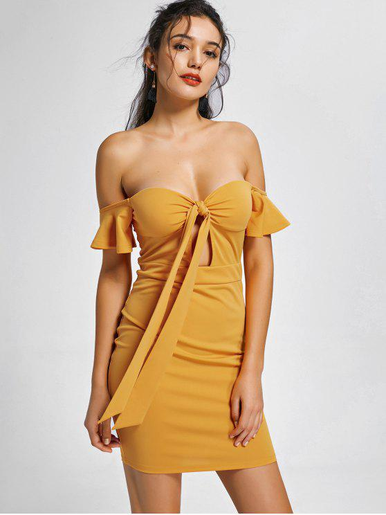 fashion Corset Off The Shoulder Bodycon Dress - YELLOW L