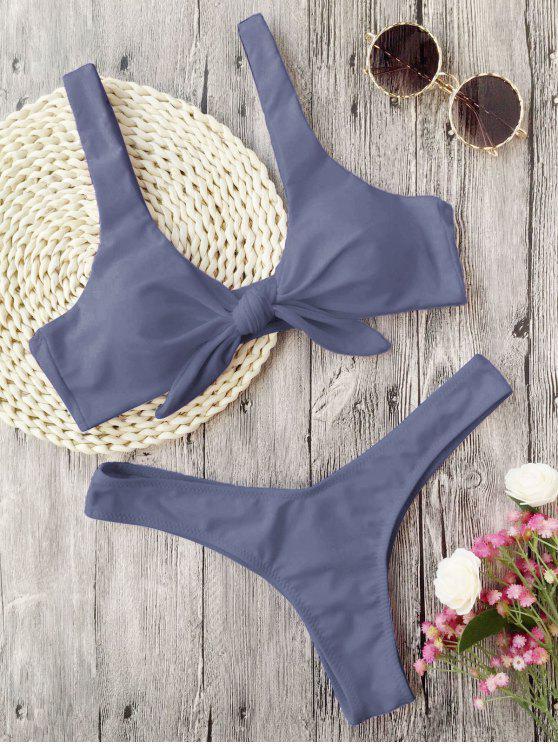 Gepolsterter, geknoteter Tanga-Bikini - Grau M