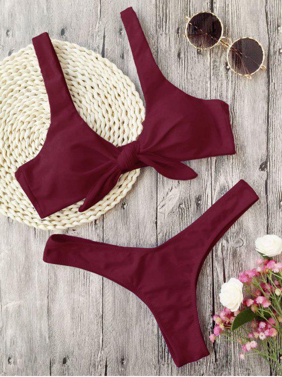 chic Padded Knotted Thong Bikini - BURGUNDY L