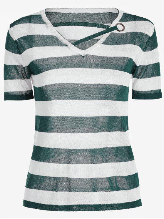 Camiseta de punto con rayas y cuello en V - Verde Única Talla