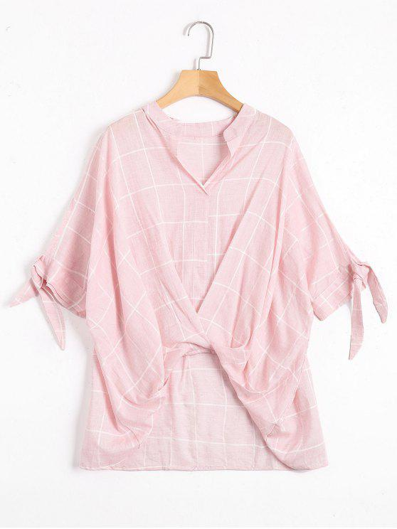 Blouse Haute-Basse Drapée à Carreaux - Rose  Taille Unique