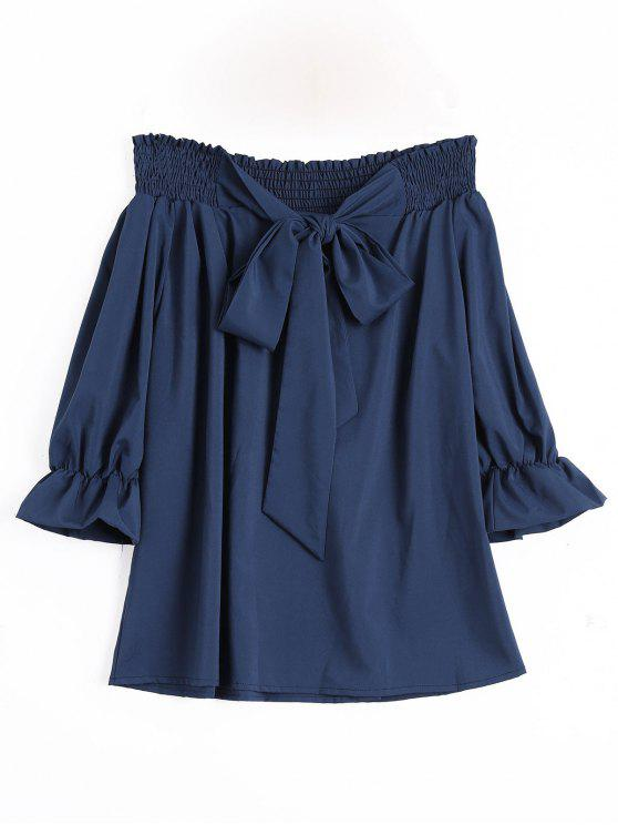 Blouse Noeud Papillon Noué Col Bardot - Cadetblue XL