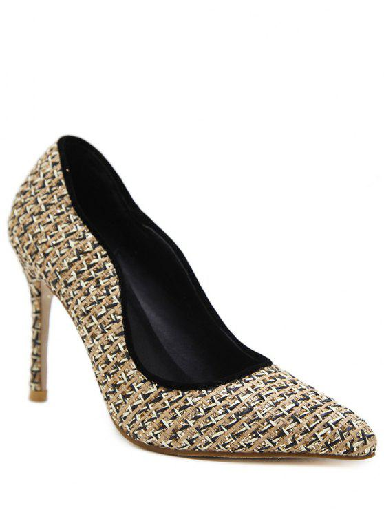 outfit Sequins Gien Check Stiletto Heel Pumps - APRICOT 38