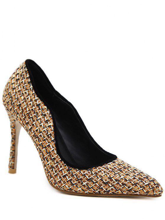 Chaussures à Talon Poitu à Carreaux - Or 37