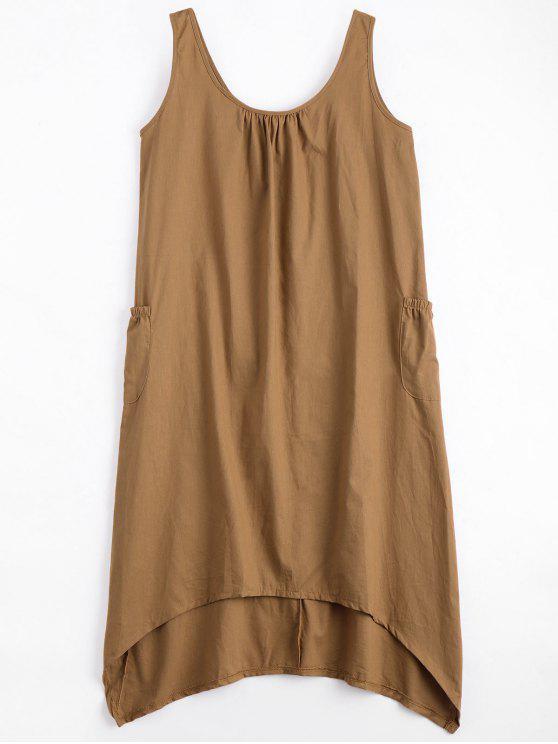 unique U Neck Sleeveless Asymmetric Dress - CAMEL L