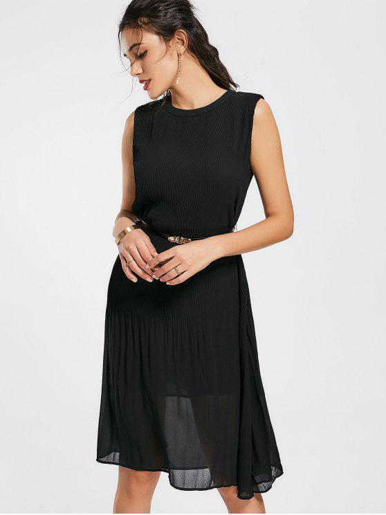 women Pleated Panel Belted Chiffon Dress - BLACK L