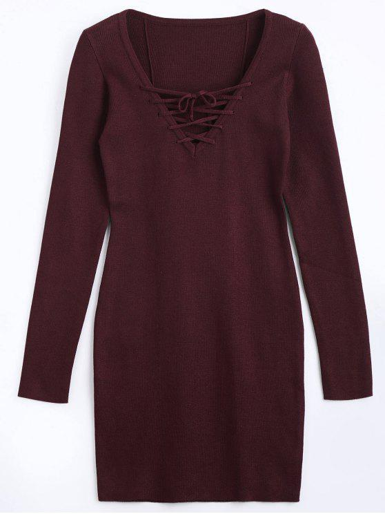 chic Lace Up Long Sleeve Knitted Dress - WINE RED M