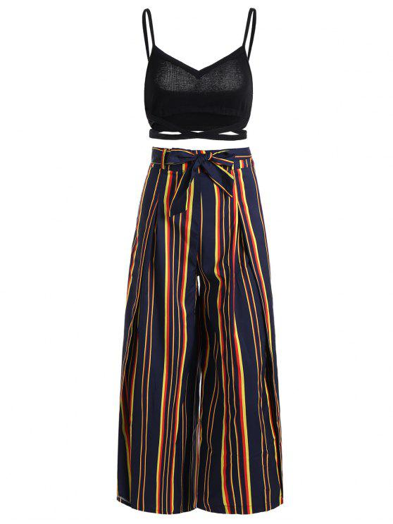 affordable Cami Top and Belted Slit Pants Set - STRIPE M