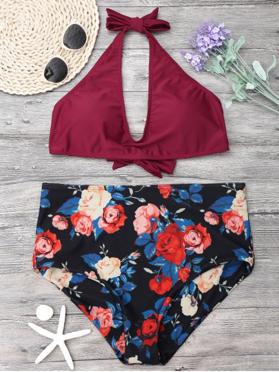 women Floral Plus Size High Waisted Bikini Set - WINE RED 2XL