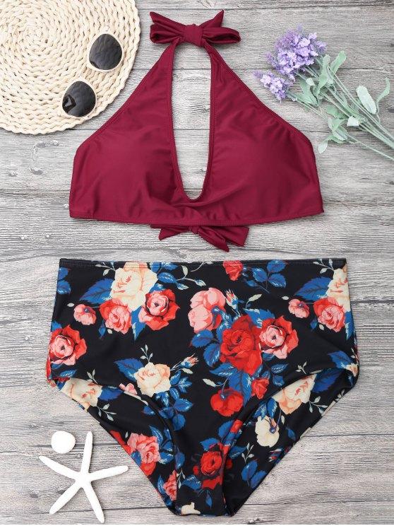 Floral más el tamaño de alta Waisted Bikini Set - Vino Rojo XL
