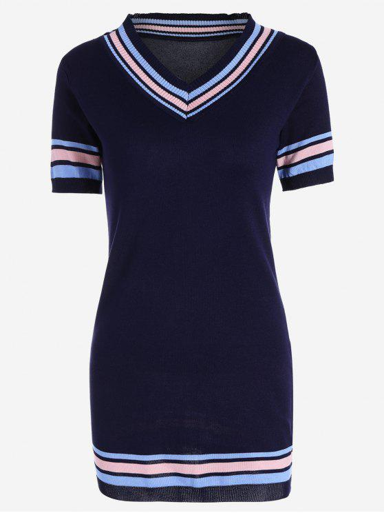 outfits V Neck Striped Knitted Dress - PURPLISH BLUE ONE SIZE