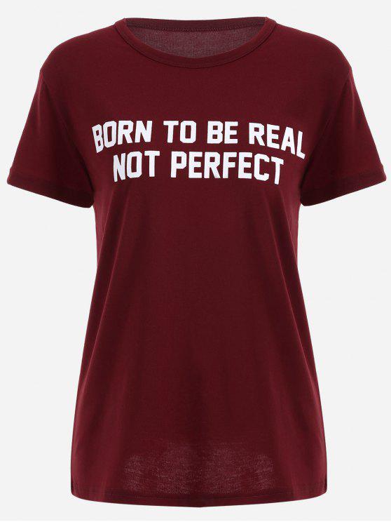 Camiseta redonda del oscilación de la impresión de la - Vino Rojo S