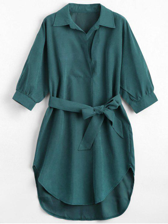 affordable Three Quarter Sleeve Belted Shift Dress - BLACKISH GREEN S
