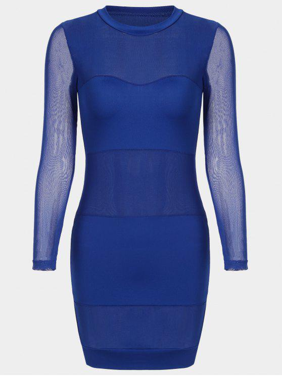 Sheer Maschen Panel Bodycon Kleid - Blau L