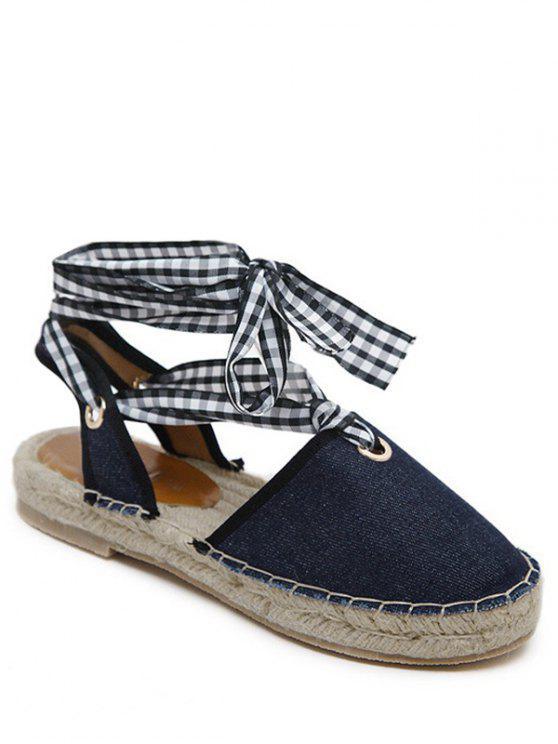 Slingback Stitching Tie Up Sandals - Bleu Foncé 37