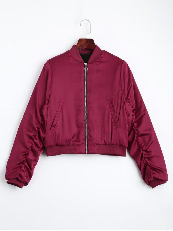unique Puffer Zip Up Bomber Jacket - RED M
