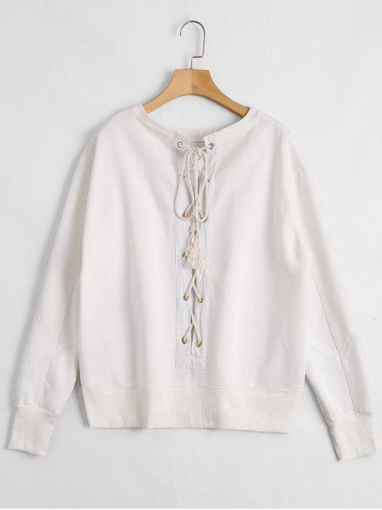 chic Back Lace Up Pullover Sweatshirt - WHITE M