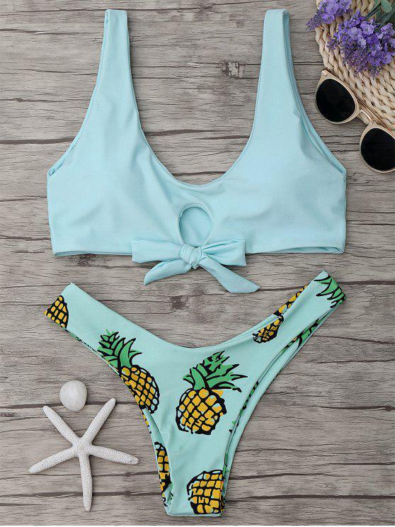chic Pineapple Print Thong Bottom Bikini Set - LIGHT GREEN S