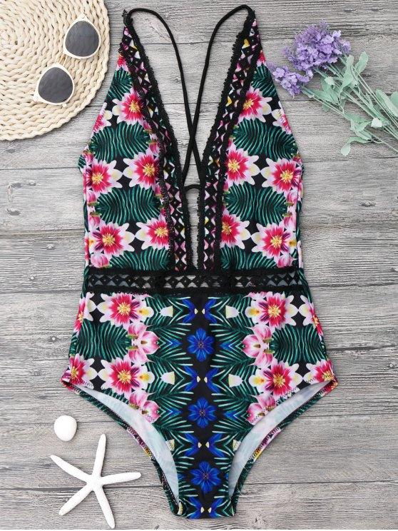 chic Lace Panel Floral One Piece Swimsuit - COLORMIX M
