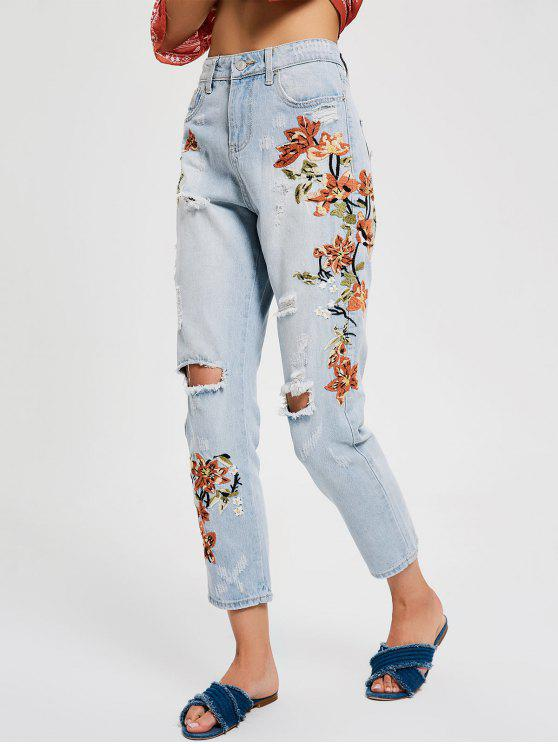 chic Floral Embroidery Destroyed Tapered Jeans - DENIM BLUE M
