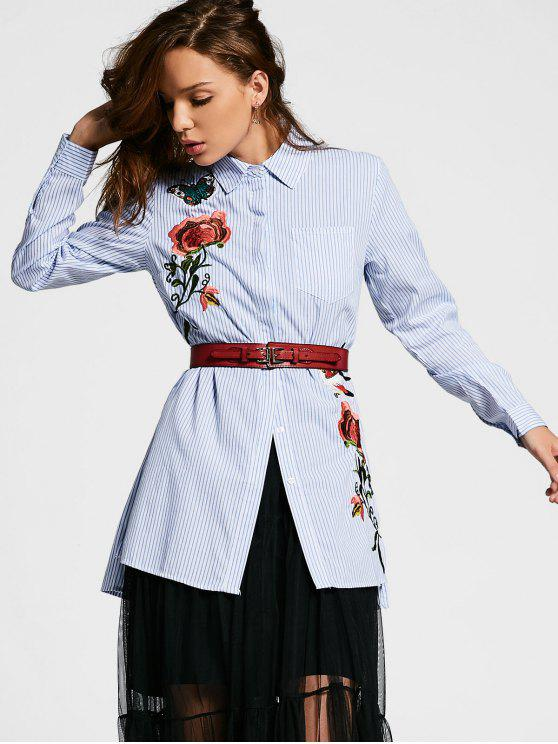 Striped Slit Floral Camisa bordada - Listras S