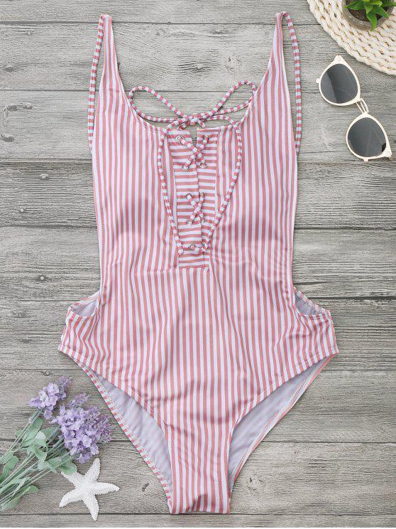 fancy Striped Backless Lace Up Swimwear - STRIPE L
